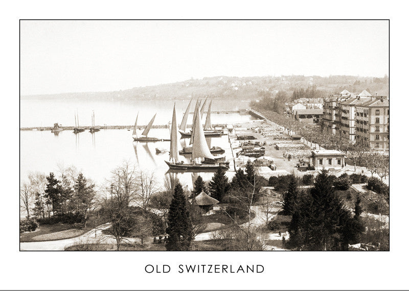 "GENEVA, THE COMMERCIAL PORT ""EAUX-VIVES"", ABOUT 1890, SWITZERLAND"