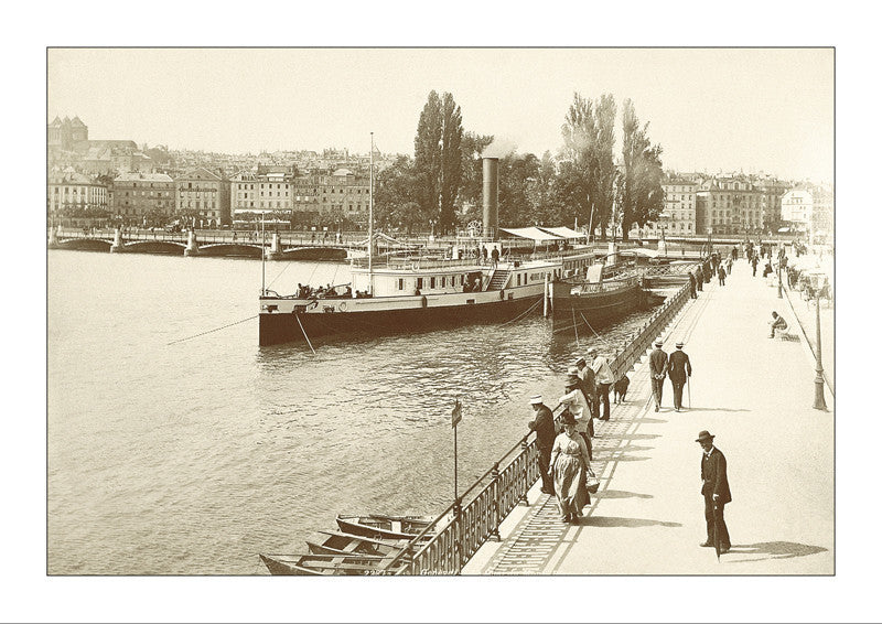 "263013 - Geneva - Mont-Blanc Quai with Steamer  ""Mont-Blanc"", about 1885, Switzerland"