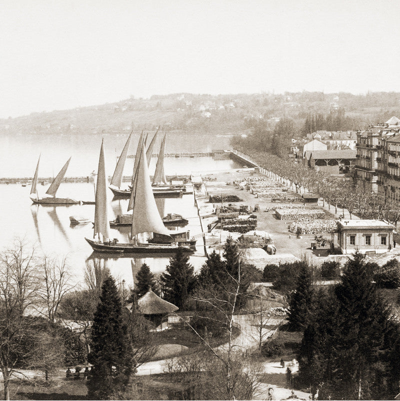 "73042 - Geneva - The commercial port ""Eaux-Vives"", about 1890, Switzerland"