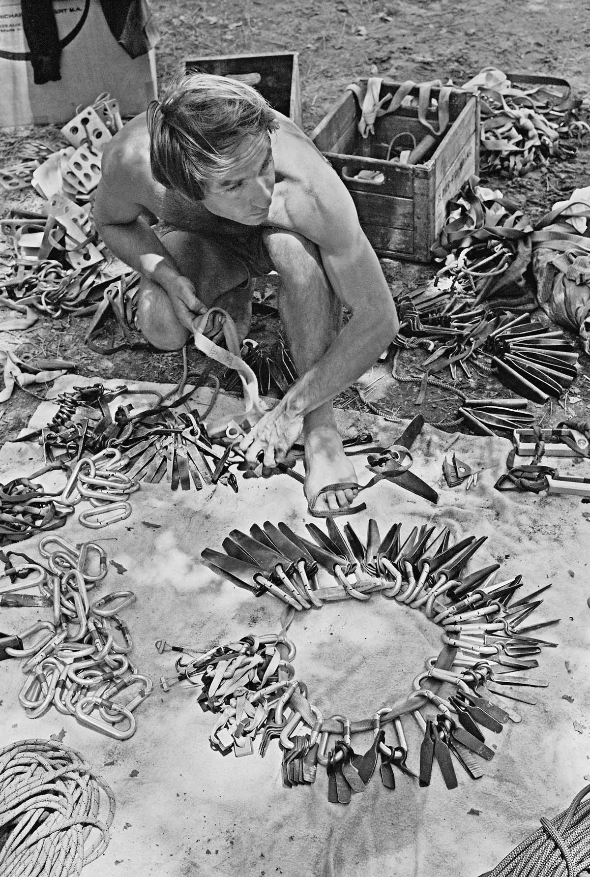 Patagonia Founder Yvon Chouinard sorting out pitons