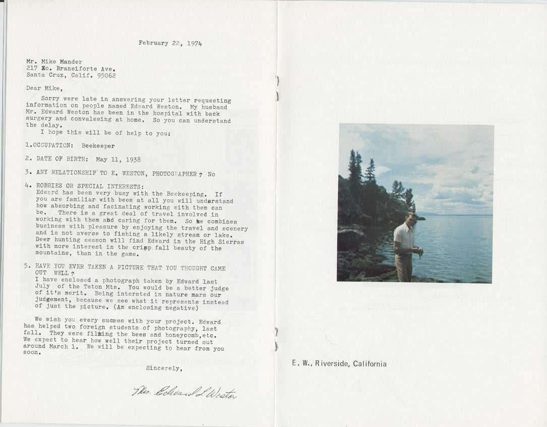 Letter to Mike Mandel from Edward Weston - Adsum