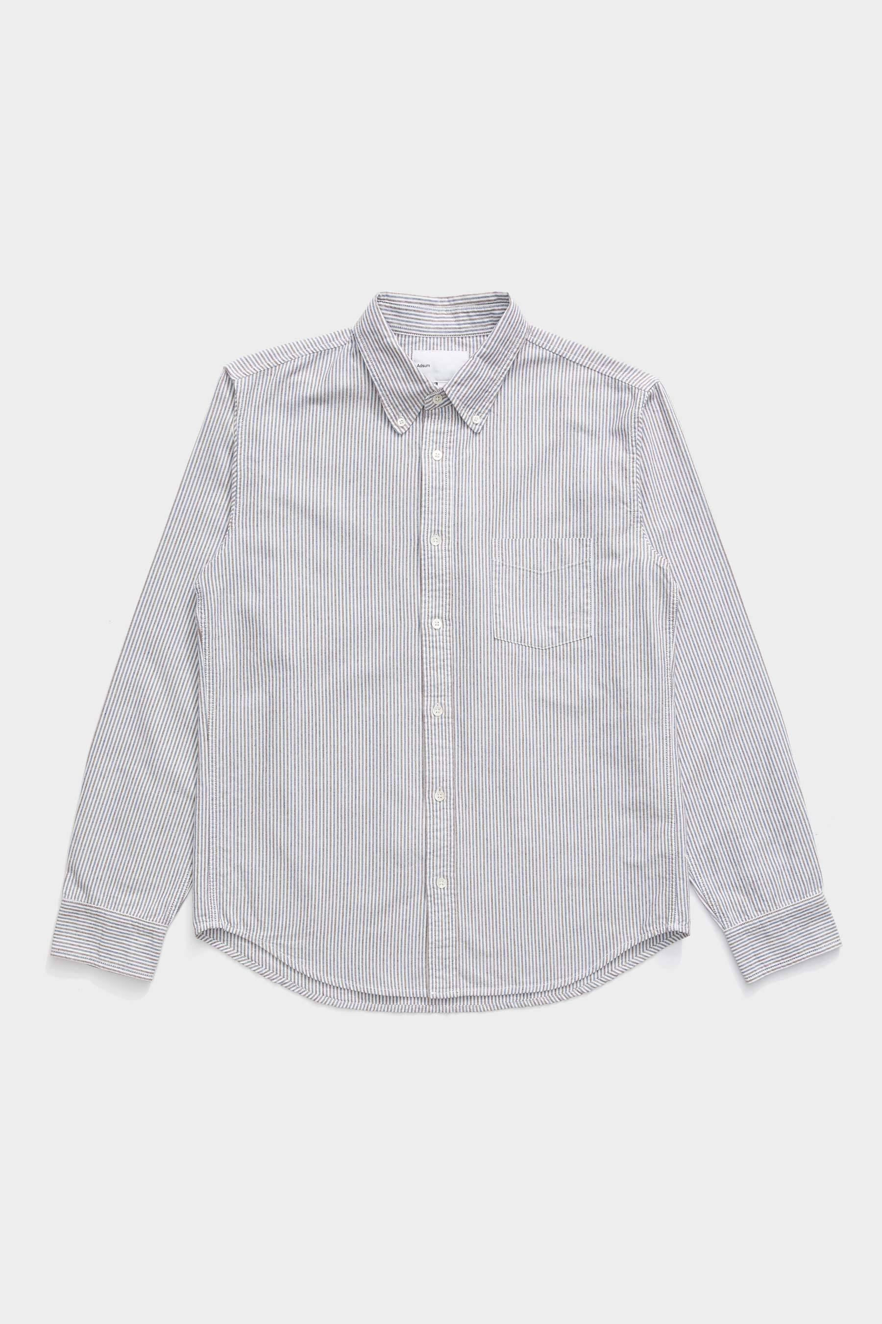 Oxford Buttondown Shirt - Navy / Brown Stripe