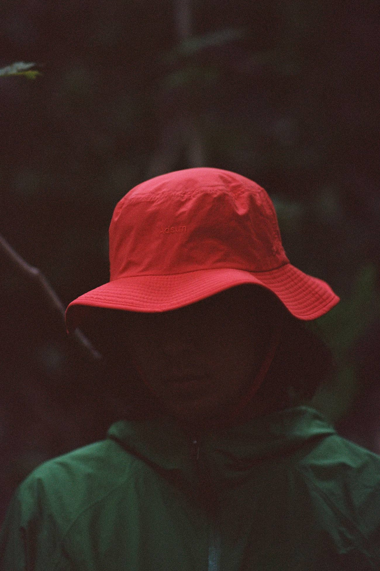 Safety Red Bucket Hat on model
