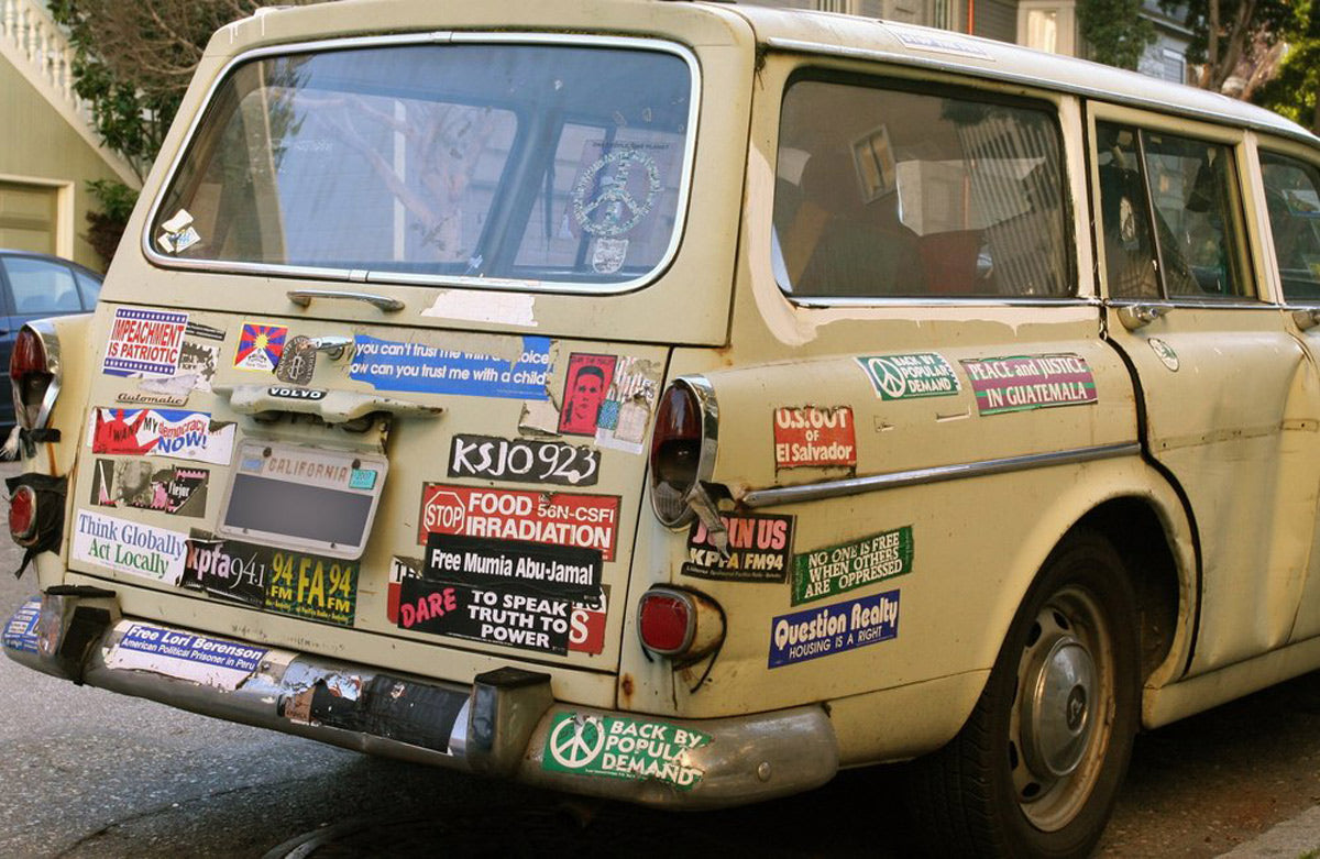 Old Volvo Wagon with stickers