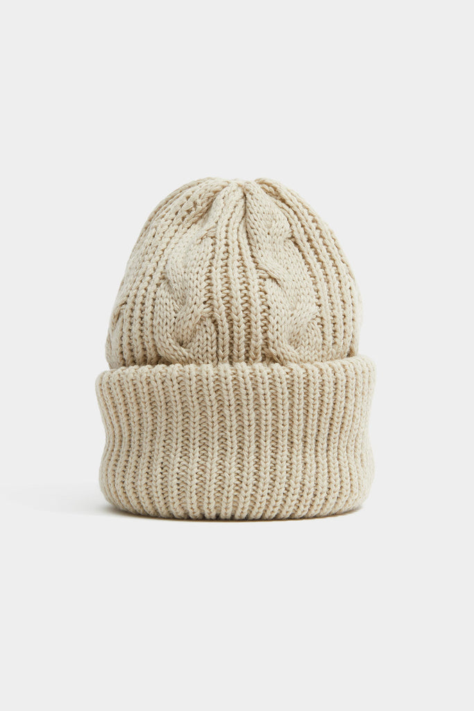 Cable Knit Beanie - Beige
