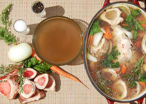 Pot of Bone Broth Soup