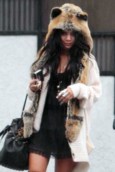 woman wearing an animal fur coat