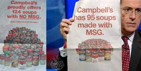 man holding literature discussing Campbell's soups made with MSG and without MSG
