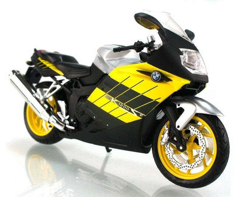 BMW K1200S Black-Yellow 1/12 Scale Diecast Metal and Plastic Model by Automaxx