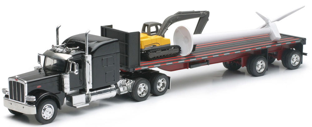 Peterbilt 389 with Wind Turbine and Excavator - Black - 1/32 Scale Model by NewRay
