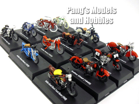 Indian Motorcycles Set of 12 different 1/32 Scale Diecast Models by NewRay