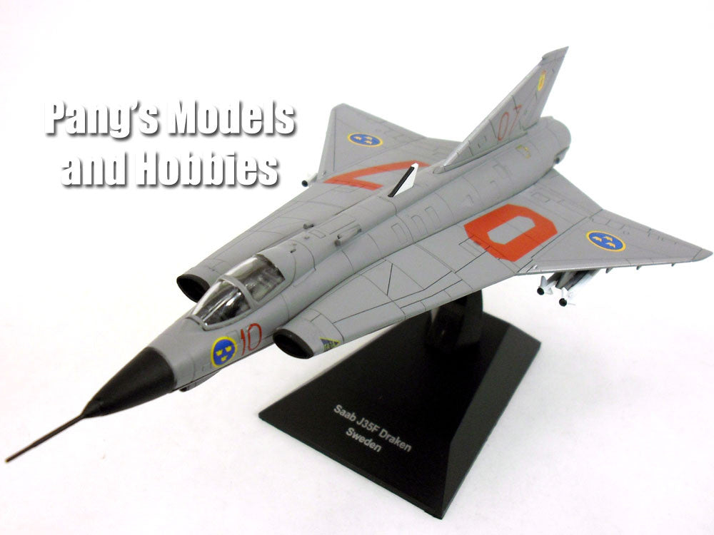 Saab J-35 Draken (Kite or Dragon) Sweden - Grey 1/72 Scale Diecast & Plastic Model