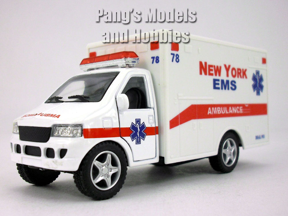 5 Inch New York EMS White Ambulance Model by Kinsfun