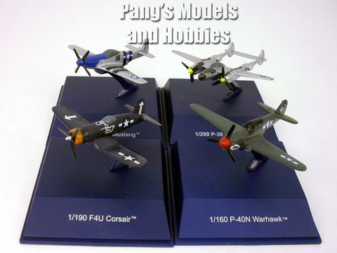American World War II Fighter Airplanes - Set of 4 - (P-38, P-40, P-51, Corsair) Diecast Metal Collection  by NewRay