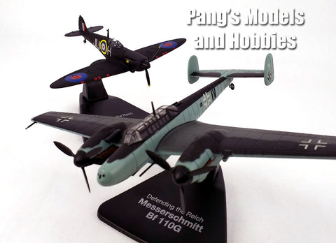 Bf-110 vs Spitfire Night Fighters - TWIN PACK -1/72 Scale Diecast Metal Model by Atlas