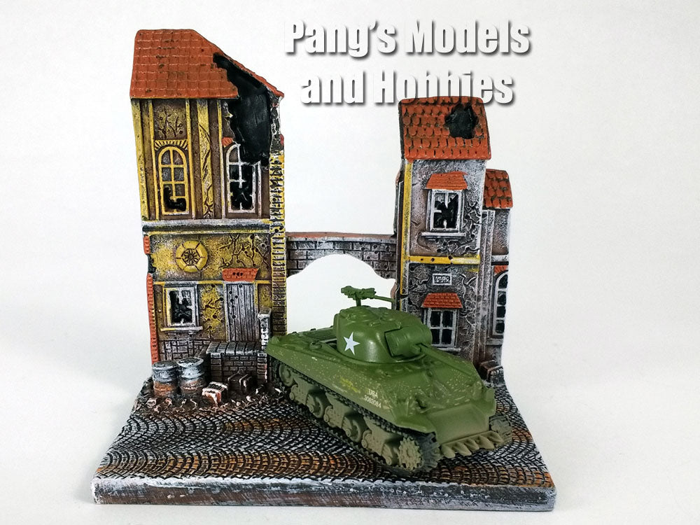"M4 Sherman Tank 1/100 Scale Diecast Model and The Siege of Bastogne ""The Chateau"" Diorama Display"