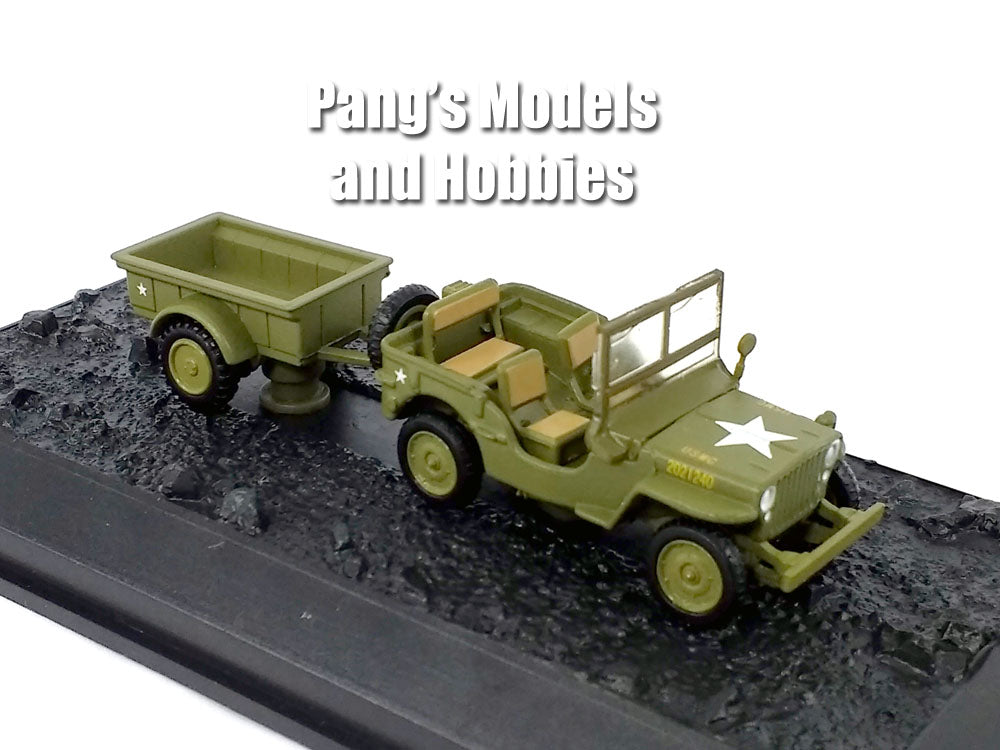 3.25 Inch Willys MB Jeep with Bantam T3 Trailer - USMC - 1/72 Scale Die-cast Model by Amercom