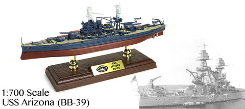 Battleship USS Arizona BB-39 - US NAVY 1/700 Scale Diecast & Plastic Model - Forces of Valor