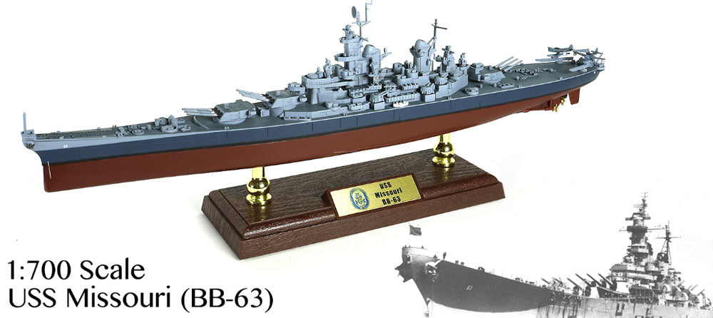 Iowa Class Battleship USS Missouri BB-63 - US NAVY 1/700 Scale Diecast & Plastic Model - Forces of Valor