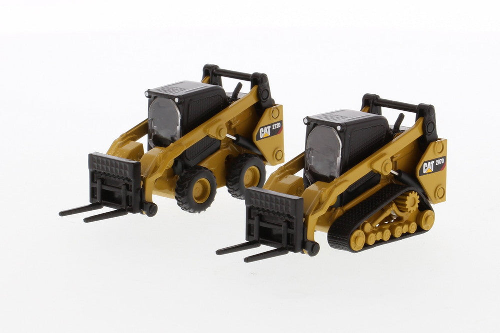 Set of 2 - Cat 272D2 Skid Steer Loader & Cat 297D2 Multi Terrain Loader 1/64 Scale Diecast Model by Diecast Masters