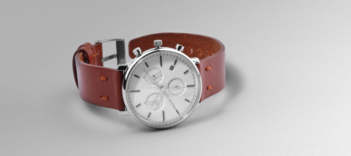 The C201A Chronograph - a classic design in stainless steel and bridle leather by Paulin Watches