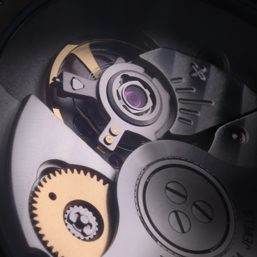Close-up of the Miyota 9015 movement, as seen in the Paulin Commuter Automatic