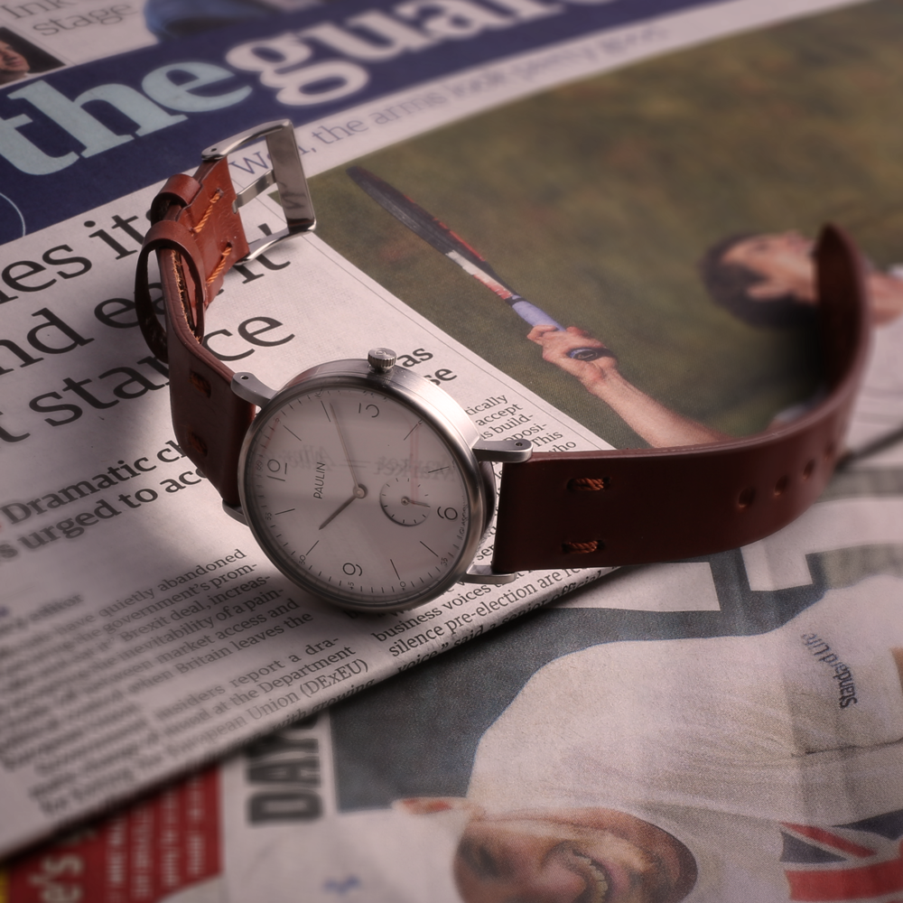 Commuter Numerical by Paulin Watches with tan bridle leather strap