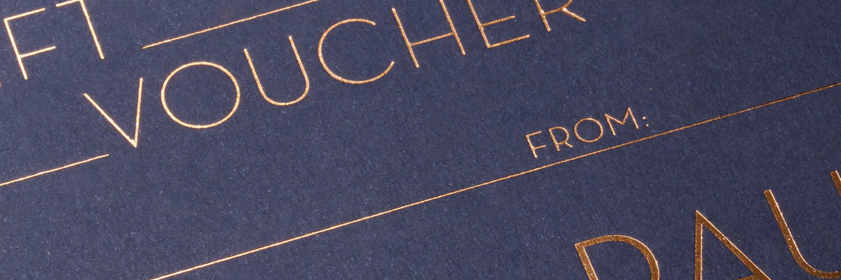 Close up of foil stamping on premium gift voucher - available from Paulin Watches