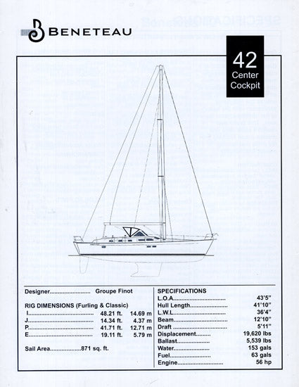 Beneteau 42 Center Cockpit Specification Brochure