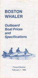 Boston Whaler 1982 Specification & Price List Brochure
