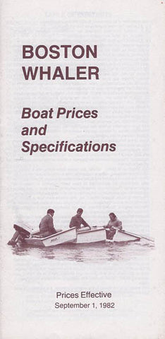 Boston Whaler 1983 Specification & Price List Brochure