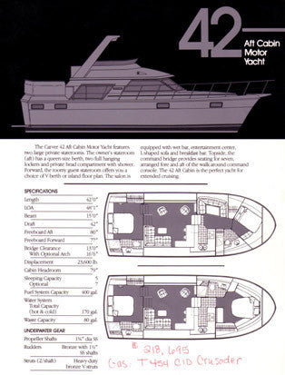 Carver 42 Aft Cabin Motor Yacht Specification Brochure