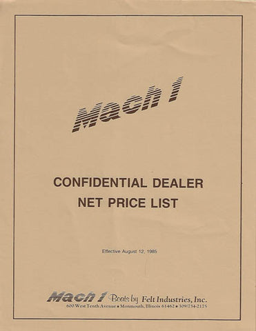 Mach 1 One 1986 Dealer Price List