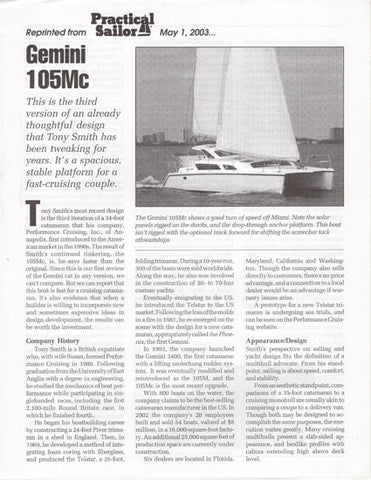 Gemini 105Mc Practical Sailor Magazine Reprint Brochure
