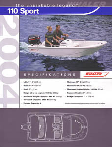 Boston Whaler 110 Sport Specification Brochure