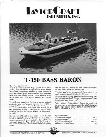 TaylorCraft T-150 Bass Baron Brochure