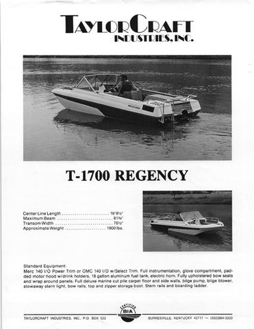 TaylorCraft T-1700 Regency Brochure