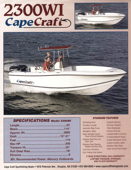 Cape Craft 2300WI Brochure