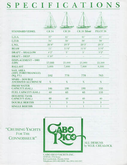 Cabo Rico 34 & 38 Specification Brochure