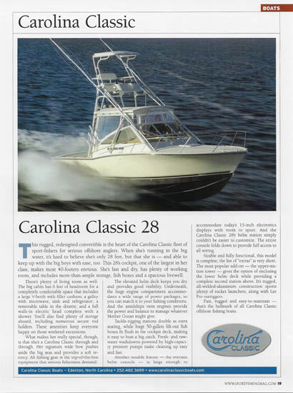 Carolina Classic 28 Sport Fishing Buyers Guide 2006 Magazine Reprint Brochure