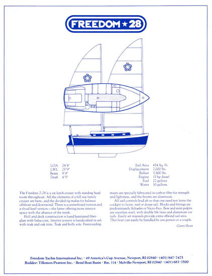 Freedom 28 Specification Brochure [Hoyt Ketch]