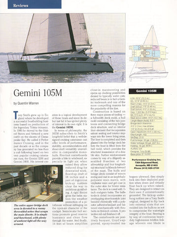 Gemini 105M Magazine Reprint, Cruising World Brochure