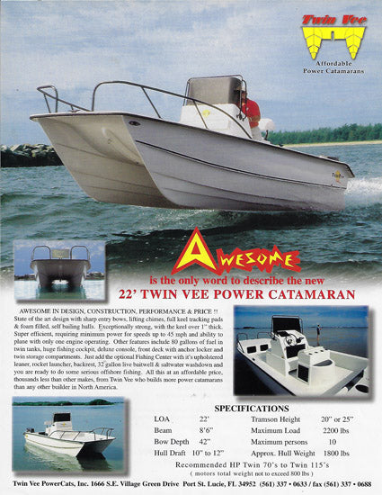 Twin Vee Awesome 22 Brochure