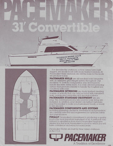 Pacemaker 31 Convertible Specification Brochure