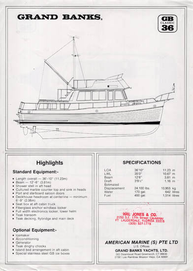 Grand Banks 36 Classic Specification Brochure
