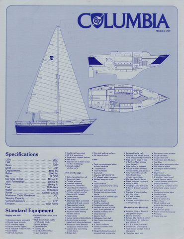 Columbia 8.7 Specification Brochure / Price List