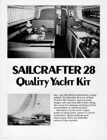 Columbia Sailcrafter 28 Brochure / Price List