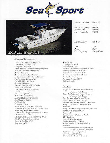 Sea Sport 2540 Center Console Brochure