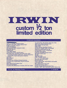 Irwin Custom 1/2 Ton [30'] Brochure
