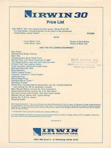 Irwin 30 Price List